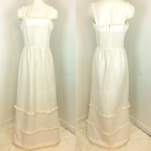 Vintage Sz 12 CARON CHICAGO 70s Maxi Dress Tiered
